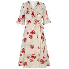 Printed Silk|Cream Wrap Dress| 30s Vintage Print Tea Dress | Hayward... (905 AUD) ❤ liked on Polyvore featuring dresses, floral print dress, floral wrap dress, flower print dress, white dress and white tea-length dresses