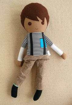 Custom Listing For Kristin - Fabric Doll Rag Doll Brown Haired Boy in Striped Shirt and Suspenders Quilting Projects, Quilting Designs, Sewing Projects, Sewing Crafts, Hand Quilting, Machine Quilting, Best Baby Doll, Fabric Toys, Sewing Dolls
