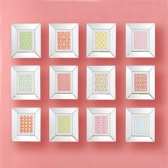 The Pattern Play Set of 12 Geometric Wall Art Prints consists of twelve geometric prints set in mirrored frames. Each frame holds an x replaceable print. Dimensions: x each frame Wall Art Sets, Wall Art Prints, Bliss Home And Design, Two's Company, Geometric Wall Art, Wall Decor, Frame, Artwork, Pattern