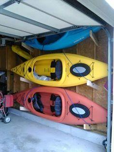 Garage kayak storage.