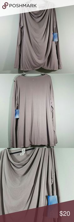 NWT ASPIRE DRAPED LONGSLEEVE TOP New with tags beautiful gray/lavender long sleeved draped workout top by Aspire. Has wicking and comfort stretch for you workouts. No flaws. Size 1x. Aspire Tops Tees - Long Sleeve