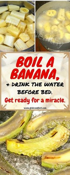 Boil Bananas Before Bed, Drink the Liquid and You Watch The Miracle Happen Boil … Fitness Health Remedies, Home Remedies, Natural Remedies, Banana Before Bed, Water Before Bed, Sante Plus, Natural Medicine, Holistic Medicine, Alternative Medicine