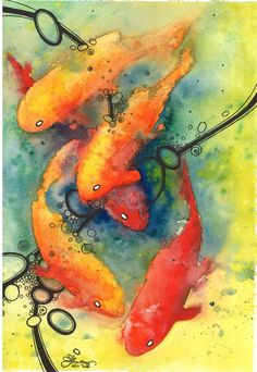 Second Dance. I do love koi Watercolor Fish, Watercolor Wallpaper, Watercolor Animals, Watercolor Background, Watercolor Paintings, Watercolors, Wallpaper Art, Caricatures, Illustrations
