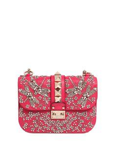 Valentino   Pink Small Lock Swarovski Leather Shoulder Bag   Lyst