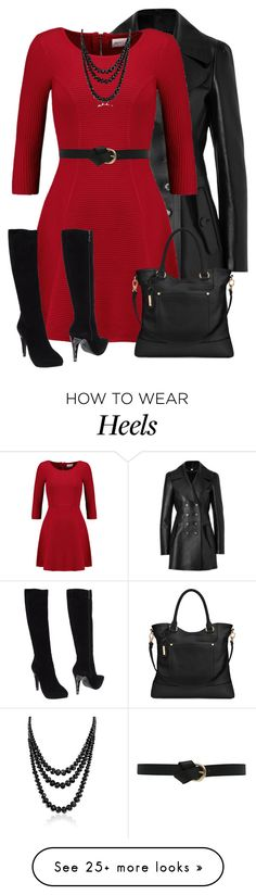 """""""Red Dress for Fall"""" by daiscat on Polyvore featuring Burberry, Milly, Tignanello, Fabi and Bling Jewelry"""
