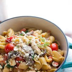 One Pot Pasta with Chicken, Feta and Dill Recipe Main Dishes with olive oil, chicken breasts, onions, garlic, mushrooms, red pepper flakes, kosher salt, diced tomatoes, chicken stock, tomatoes, spinach, feta cheese, fresh dill