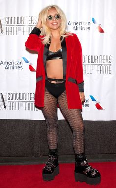 Lady Gaga Wears Black Leather Bra and Underwear on the Songwriters Hall of Fame Red Carpet  Lady Gaga