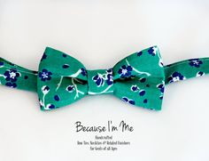 Mens Bow Tie   Navy Blue and White Floral on Rich by becauseimme