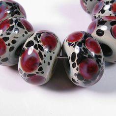 Lampwork beads  Magenta Leopards  BBGLASSART  by bbglassart, $29.99