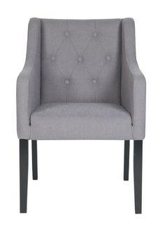 Chaise avec accoudoirs tissu gris et pieds foncés LIZA - Zoom