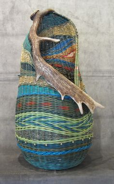 Basket by Montana Blue Heron Willow Weaving, Basket Weaving, Bountiful Baskets, Nantucket Baskets, Antler Art, Textiles, Vintage Bowls, Gourd Art, Weaving Art