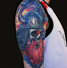 Viking shoulder piece by Jamie Lee Parker of MD Tattoo Studio - more from Jamie here -->http://on.tattoo.com/thJn9