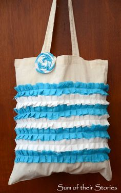 Turn an old plain shopping bag into a ruffled one, simple tutorial from Sum of their Stories