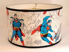 Vintage Wallpaper Drum Shade 1970's Superman the Man of by Fondue  What little boy wouldn't like this one.