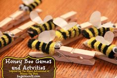 Honey Bee Games and Activities inspired by The Many Adventures of Winnie The Pooh. Fine motor, gross motor, sensory activities (and a bee hive treat) would be perfect for a Winnie The Pooh or honey bee themed birthday party or play date. Craft Stick Crafts, Crafts For Kids, Craft Sticks, Craft Ideas, Paper Craft, Popsicle Sticks, Bee Games, Winnie The Pooh Birthday, Bee Party