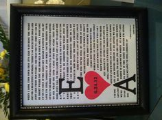 """Framed Lyrics to First Dance: My take on the """"traditional"""" 1st Anniversary gift of paper"""