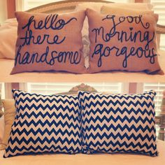 Reversible Throw Pillows for when one of you leaves before the other in the morning.