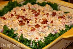Deep South Dish: Cornbread Salad - A delicious salad made using crumbled cornbread and a variety of vegetables, mixed with a mayonnaise and sour cream Ranch dressing and garnished with bacon. A great addition to your next potluck or party! Cornbread Salad Recipes, Fruit Recipes, Casserole Recipes, Mexican Food Recipes, Cooking Recipes, Cajun Recipes, Chicken Recipes, Potluck Dishes, Healthy Recipes