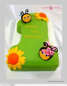 Pszczółki, kwiatki, tort z pszczółkami, tort urodzinowy, 1 roczek, tort w kształcie jedynki, 1, torty dla dzieci, urodziny dziecka, Tarnów