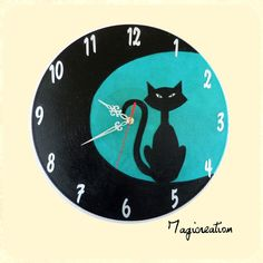 Vynil, Html, Clock, Tours, Turquoise, Boutique, Home Decor, Clocks, Gatos