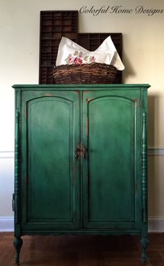 A personal favorite from my Etsy shop https://www.etsy.com/listing/505572443/vintage-hand-painted-armoire-annie-sloan