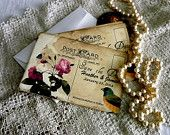 "Wedding ""Save the Date"" Card-Vintage Postcard Handmade by avintageobsession on etsy"