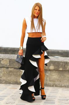 Streetpeeper.com Street Fashion Top: White BALENCIAGA/> Crop Top Skirt: Black Ruffled BALENCIAGA Skirt Photo By: Phil Oh