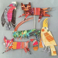 animal art projects Student is part of Best Animal Art Projects Images In Art Education - Clare Youngs great inspiration for an art project collaged puppets ! Animal Art Projects, Motifs Animal, Paper Embroidery, Art Club, Art Activities, Art Plastique, Teaching Art, Elementary Art, Art Education