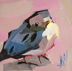 Baby Bluebird Art Print by Angela Moulton 6 x 6 inch