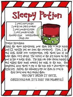 CHRISTMAS ACTIVITY: SLEEPY POTION (HOT CHOCOLATE)   Stop by for a ton of fun FREEBIES for your classroom holiday Christmas celebration and party!