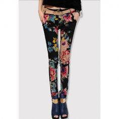$11.25 Ethnic Colorful Floral Print Slim Fit Cotton Blend Narrow Feet Pants With Belt For Women