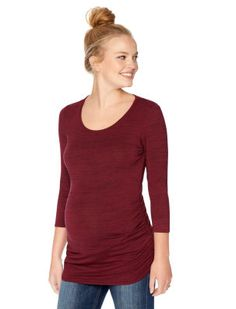 Motherhood Maternity 3/4 Sleeve Scoop Neck Side Ruched Maternity Top