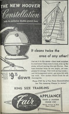 June 14, 1955 - Hoover Constellation vacuum advertisement.
