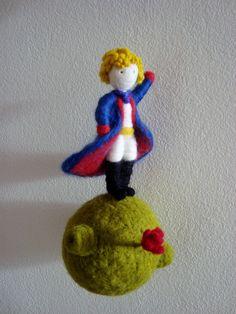 Needle felted Le Petit Prince by Karenpazfieltro Felted Wool Crafts, Felt Crafts, Felt Christmas, Christmas Ornaments, Felt Mobile, Air Dry Clay, Fairy Dolls, Felt Dolls, Felt Ornaments