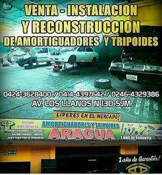 ��@amortiguadoresytripoidesaragua  Líderes en el mercado con  35 años de experiencia,  especialistas en la reconstrucción de amortiguadores y tripoides  para todo tipo de vehículo. Únicos en Venezuela con 1 año de garantía.  Búscalos en sus  sucursales : �� San Juan de los Morros, Estado Guárico en la Av. Los Llanos N° 130, Contáctalos al ��0424-3628400 ��0414-4397642 ☎0246-4329386 �� Barcelona - Anzoategui: Av fuerzas Armadas,  al lado de Auto Repuestos Mario �� Valencia en Av las Ferias…