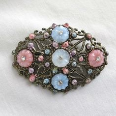 Vintage Art Deco Pink & Blue Molded Glass Flowers with Rhinestones Filigree Brooch by MyVintageJewels, $28.00