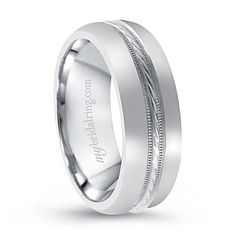 Men S Symbolic Wedding Band Charming 14k White Gold Inlay Ring Http