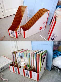 Bookholders out of priority mail boxes!! Cover with wrapping paper and you have a decorative magazine holder!