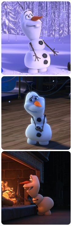 adorable Olaf! <3 The middle pic is one of my favorite Olaf moments in Frozen. So cute, I can't stand it! (: