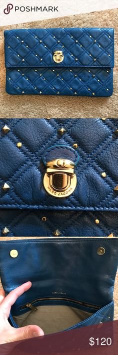 Gorgeous Marc Jacobs blue studded clutch Marc Jacobs studded clutch with many pockets. I only used this once for a formal. Vibrant blue and in prestige condition. Purchased from Bloomingdales. Marc Jacobs Bags Clutches & Wristlets