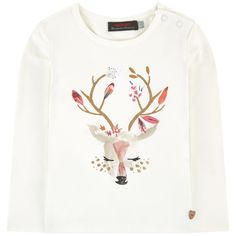 Cotton jersey  Pleasant to the touch Fitted cut Crew neck Long sleeves Shoulder snap button opening until size 4 years Fancy print Metal jewel - £ 31