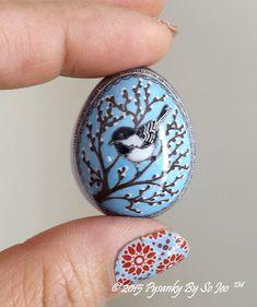 Chickadee Pussy Willow Quail Pysanka Pysanky Ukrainian Easter Egg by So Jeo