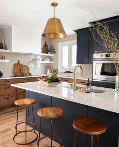 Home Interior Lighting .Home Interior Lighting Home Decor Kitchen, Kitchen Interior, New Kitchen, Home Interior Design, Home Kitchens, Kitchen Dining, White Countertop Kitchen, Kitchen With Blue Cabinets, Two Toned Kitchen
