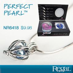 "PERFECT PEARL (TM) from Regal Gifts A priceless, one-of-a-kind gift for anyone close to your heart. Open a real oyster from a sealed can to reveal your own genuine cultured pearl in chosen shade, each colour with its own meaning. Place your lustrous pearl in the silver finished locket with chain for a beautiful, unique piece of jewellery. Necklace: 16""L Product Number: NR6418 http://www.Regal.ca"