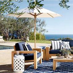Outdoor Teak Umbrella for an outdoor living space // outdoor entertaining Outdoor Lounge Furniture, Outdoor Dining, Outdoor Spaces, Outdoor Decor, Poolside Furniture, Outdoor Fun, Outdoor Chairs, Teak, Outdoor Umbrella