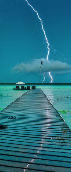 Storm in Bacalar lagoon, Mexico