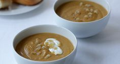 Butternut Squash and Pear Soup with Roasted Coriander and Yogurt