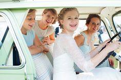 Bride and Bridesmaids | Kerry Bartlett Photography | Summer Wedding | Bruton Church Wedding | Light pastel vintage