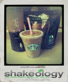 """Better Than starbucks"" Mocha Frap 5 oz cold coffee 5 oz almond milk or coconut milk 1 tsp. Honey 1 scoop chocolate shakeology crushed Ice blend and enjoy! Or any protein powder Protein Shake Recipes, Protein Shakes, Smoothie Recipes, Superfood Recipes, Shakeology Shakes, Beachbody Shakeology, Chocolate Shakeology, Vanilla Shakeology, Beachbody 21 Day Fix"