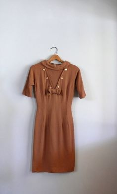 vintage 1960s Dress  // Caramel Wool Sailor by AdelaideHomesewn, $72.00